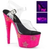 ADORE - 708STAR Clear/Neon Pink with Rhinestone Stars